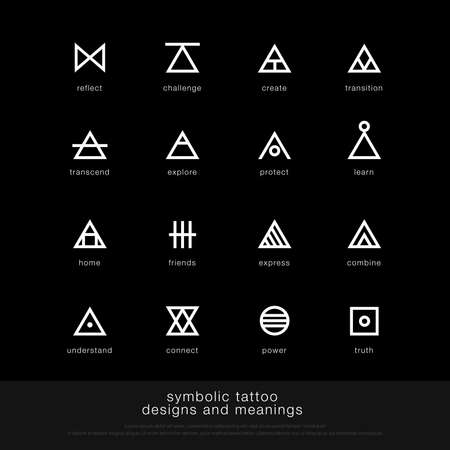 symbolisch tattoo-ontwerp en betekenis. minimalistische grafische tatoeage pictogram symbool grafisch ontwerpsjabloon. vector illustratie Vector Illustratie