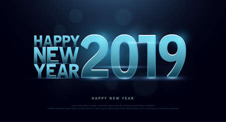Happy New Year 2019 Technology font and alphabet with bokeh on abstract background. Font digital space concept. vector illustration