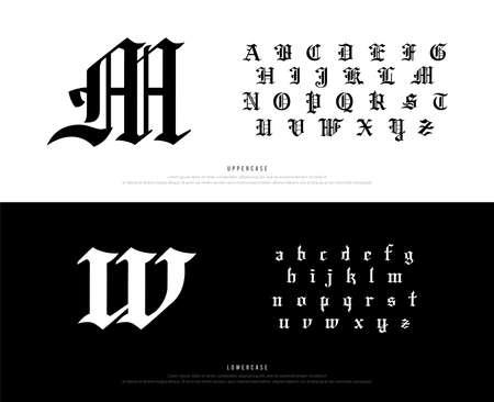 Elegante carattere alfabeto gotico Blackletter. Set di caratteri in stile classico tipografia per logo, poster, invito. illustrazione vettoriale.eps