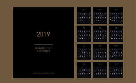Premium Calendar Minimalist Planner 2019 years Gold Color. Simple minimal wall type or desktop calendar golden template. Week starts from sunday. vector illustrator