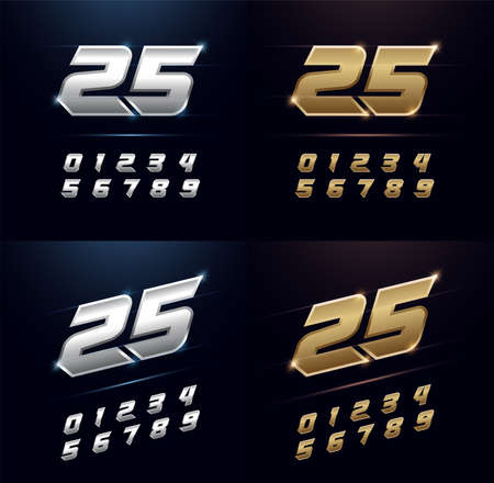 Numbers Silver and Golden Metal Chrome Alphabet Font. Number typography sport modern style gold fonts set. vector illustration