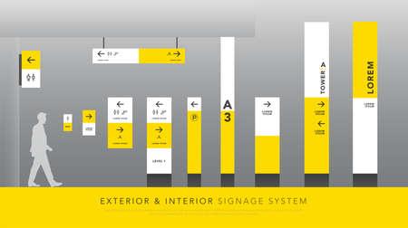 Sistema de señalización exterior e interior. dirección, poste, letrero de montaje en pared y conjunto de plantillas de diseño de señalización de tráfico. espacio vacío para logotipo, texto, identidad corporativa blanca y amarilla
