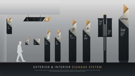 exterior and interior signage system. direction, pole, wall mount signboard and traffic signage design template set. empty space for logo, text, white, silver and gold corporate identity Illustration
