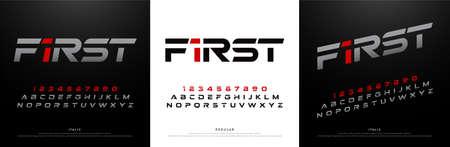 sport modern alphabet fonts. technology typography silver and red italic font uppercase. vector illustration Ilustração