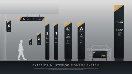 exterior and interior signage system. direction, pole, wall mount signboard and traffic signage design template set. empty space for logo, text, white and gold corporate identity Logo