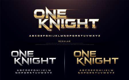 sport modern alphabet fonts. technology typography regular font uppercase silver and gold color. vector illustration