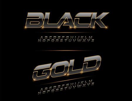 Elegant Sport Black, Silver and Golden Metal Chrome Alphabet Font. Typography modern style gold font for technology, digital, movie logo design. vector illustration