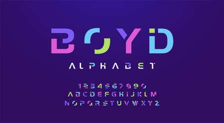 Colorful letters and numbers font set. Colored alphabet, typography modern color design concept. vector illustration Ilustração