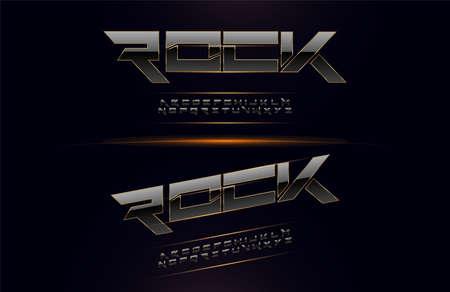 Elegant Silver and Golden Colored Metal Chrome Alphabet Font. Typography modern style gold fonts set for logo, Poster, Movie. vector illustration