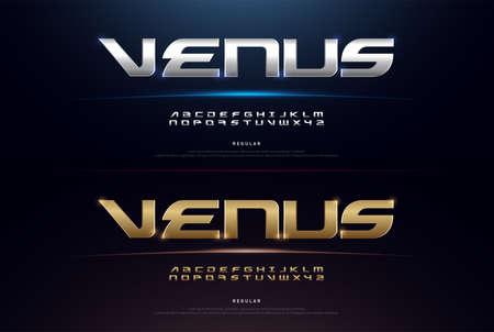Elegant Sport Silver and Golden Metal Chrome Alphabet Font. Typography modern regular style gold fonts for technology, digital, movie, logo design. vector illustration Logo