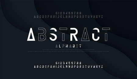 Abstract thin line font minimal alphabet. modern fonts and numbers. Typography urban typeface uppercase and number. vector illustration Çizim