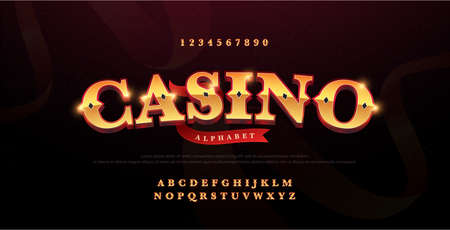 Casino luxury 3d alphabet gold logotype with royal font. Typography red and golden fonts letters uppercase and number. vector illustration Ilustração