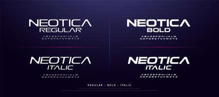 technology modern alphabet fonts. typography regular, bold and italic font uppercase techno concept. vector illustration Ilustração