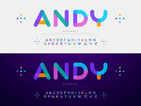 Modern font creative rounded alphabet color fonts. Typography urban round bold with colors dot exposure. vector illustration 矢量图像