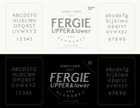 Elegant alphabet letters font set. Wedding Classic Lettering Designs. Typography fonts luxury style, regular, italic and number. vector illustration Ilustração