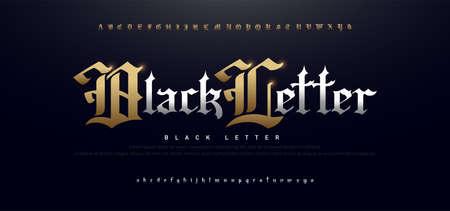 Elegant Blackletter Gothic Golden Alphabet Font. Typography silver and gold classic style font set. vector illustration Ilustração