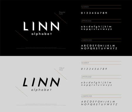 alphabet font triangle concept. modern minimal fonts uppercase, lowercase, regular, italic and number corporate identity Ilustração