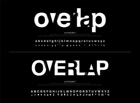 estilo de superposición de fuente de alfabeto moderno. Diseños de fuentes de caligrafía en color negro. Tipografía de fuente en mayúsculas y minúsculas. ilustración vectorial