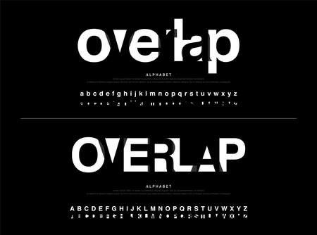 modern alphabet font overlap style. calligraphy black color fonts designs. Typography font uppercase and lowercase. vector illustration