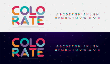 Modern font creative rounded alphabet color fonts. Typography urban round bold with colors dot exposure. vector illustration Ilustrace