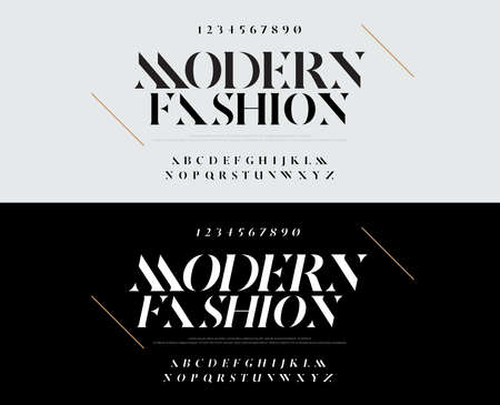Elegant alphabet letters font set. Typography fashion fonts classic style, regular, italic uppercase and number. vector illustration Çizim