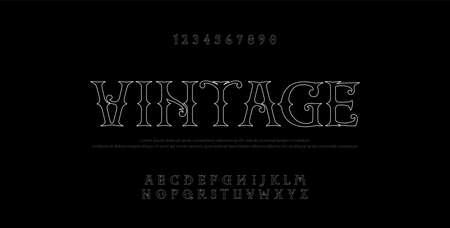 Vintage elegant alphabet thin line letters sans serif fonts set. Exclusive old lettering typography font classic style. Vector illustration Ilustrace