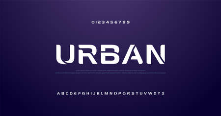 courbe future du sport, vague de polices alphabétiques modernes. typographie technologique police urbaine et nombre majuscule. illustration vectorielle