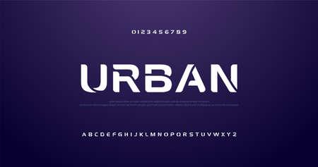 sport futuro curva, onda caratteri alfabetici moderni. tecnologia tipografia carattere urbano e numero maiuscolo. illustrazione vettoriale