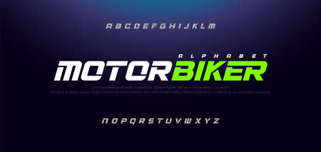 Sport Modern Italic Alphabet Font. Typography urban style fonts for technology, sport, motorcycle, racing logo design. vector illustration Stok Fotoğraf - 124948018