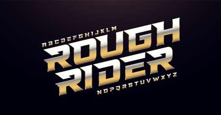 Elegant Silver and Golden Colored Metal Chrome Alphabet Font. Typography modern style gold font set. vector illustration