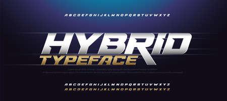 Sport Modern Italic Alphabet Gold Font. Typography 3D urban style silver and golden fonts for technology, digital, movie logo design. vector illustration Ilustrace