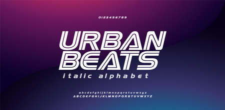 Modern sport urban italic font alphabet uppercase lowercase and number. Technology game regular fonts. vector illustration