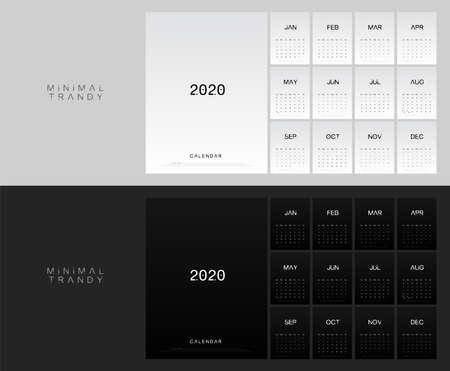 2020 calendar minimal table planner simple style. Week Starts Sunday. Trendy fashion minimalist black and white printing template. Vector illustration