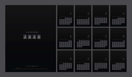 2020 calendar minimal table planner simple style. Week Starts Sunday. Trendy minimalist style black and white printing template. Vector illustration Ilustrace