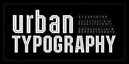 Urban modern alphabet font number. Typography fonts uppercase and lowercase. College simple style. vector illustration