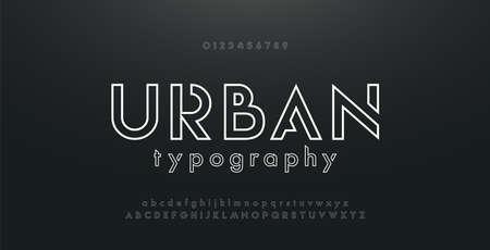 Alphabet de polices de fine ligne urbaine abstraite. Polices et nombres modernes minimaux. Typographie majuscule minuscule et nombre. illustration vectorielle