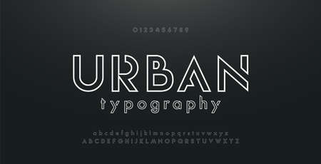 Abstract urban thin line font alphabet. Minimal modern fonts and numbers. Typography typeface uppercase lowercase and number. vector illustration
