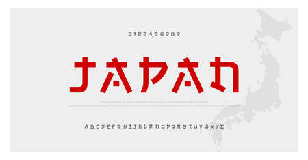 Japanese modern style alphabet font typeface. Typography japan asian fonts and number. English letters uppercase and numbers. Vector Illustration Illustration