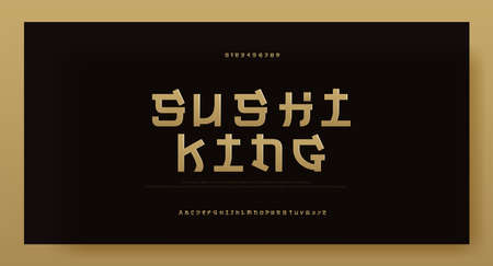 Modern asia gold alphabet font typeface. Typography japan fonts and number. English Japanese letters uppercase and numbers. Vector Illustration