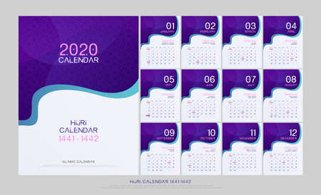 islamic calendar 2020 hijri 1441-1442 design template. Liquid flow fluid colors wall and desk type. artwork A5 size with islamic pattern template. vector illustration