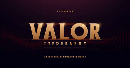 Abstract serif gold alphabet fonts. Typography modern golden for rock, music, game, future, creative, 3d font design font and number. vector illustration