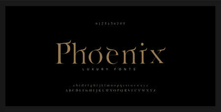 Elegant alphabet serif font and number. Luxury Classic Lettering Minimal Fashion. Typography Luxury fonts uppercase, lowercase and numbers. vector illustration
