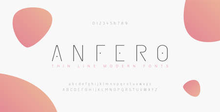 Abstract thin line font alphabet. Minimal modern fonts and numbers. Typography typeface uppercase lowercase and number. vector illustration Illustration