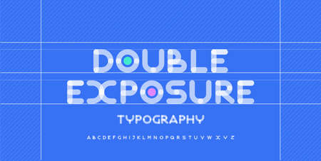 Modern alphabet creative rounded fonts. Typography urban round bold with dot double exposure font. vector illustration