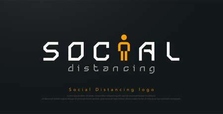 social distancing logo design concept for corona virus, covid 19 . Vector illustration