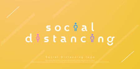 social distancing modern logo design concept for corona virus, covid 19 . Vector illustration