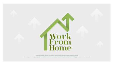 work from home business logo. Stay and working at home design with a house and arrow outline logo for corona virus and social distancing design concept . Vector illustration.