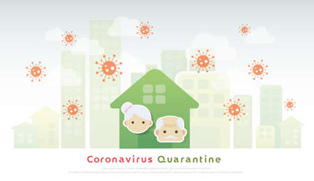 Coronavirus quarantine and social distancing. Older quarantine to stop outbreak and staying at home. vector illustration