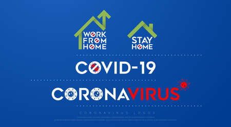 coronavirus, covid-19, work from home, stay home logos. Coronavirus quarantine and social distancing logo design concept. vector Illustration 向量圖像