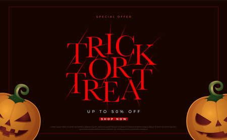 Trick or treat special offer halloween sale. Flyer or invitation template for Halloween party, printing,  sale. Vector illustration Иллюстрация